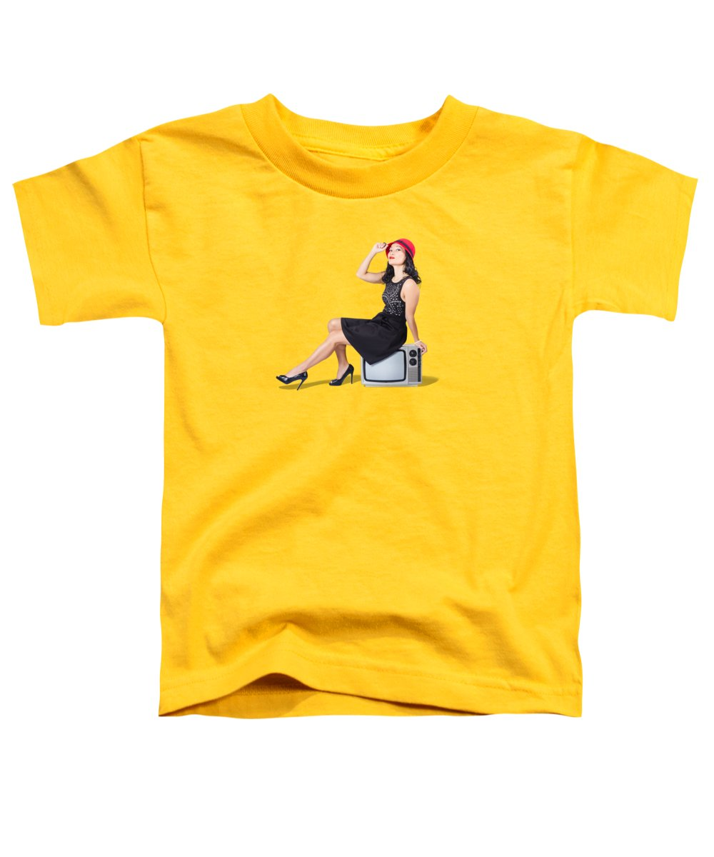 Old Toddler T-Shirt featuring the photograph Pretty Pinup Woman Sitting On 70s Tv Set by Jorgo Photography - Wall Art Gallery