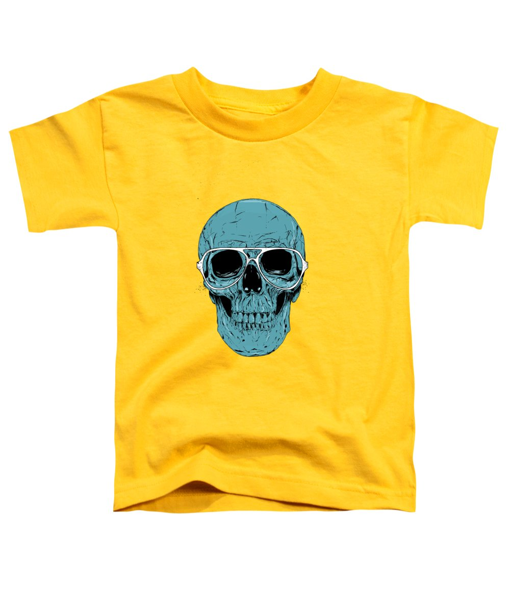 Skull Toddler T-Shirt featuring the drawing Blue skull by Balazs Solti