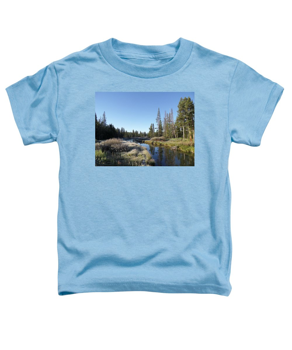 Blue Toddler T-Shirt featuring the photograph A Frosty Morning Along Obsidian Creek by Frank Madia