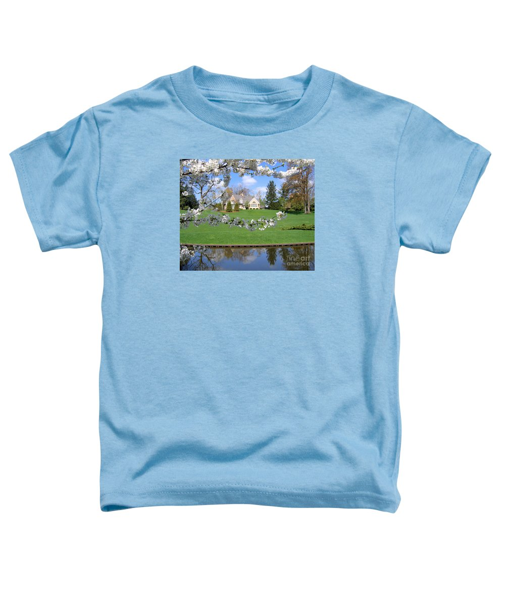 Spring Toddler T-Shirt featuring the photograph Blossom-framed House by Ann Horn