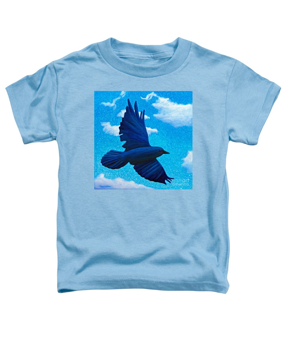 Raven Toddler T-Shirt featuring the painting Flight by Brian Commerford