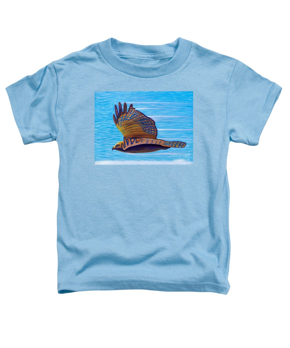 Hawk Toddler T-Shirt featuring the painting Hawk Speed by Brian Commerford