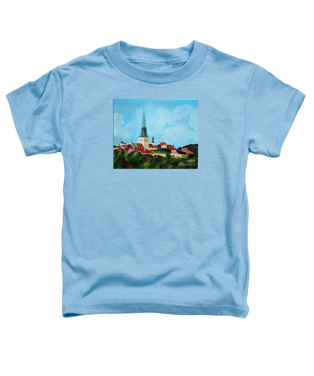 Tallinn Toddler T-Shirt featuring the painting Medieval Tallinn by Laurie Morgan