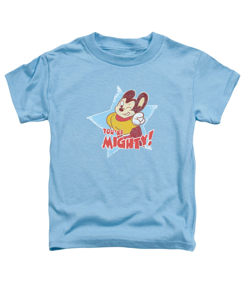 Mighty Mouse Toddler T-Shirt featuring the digital art Mighty Mouse - You're Mighty by Brand A