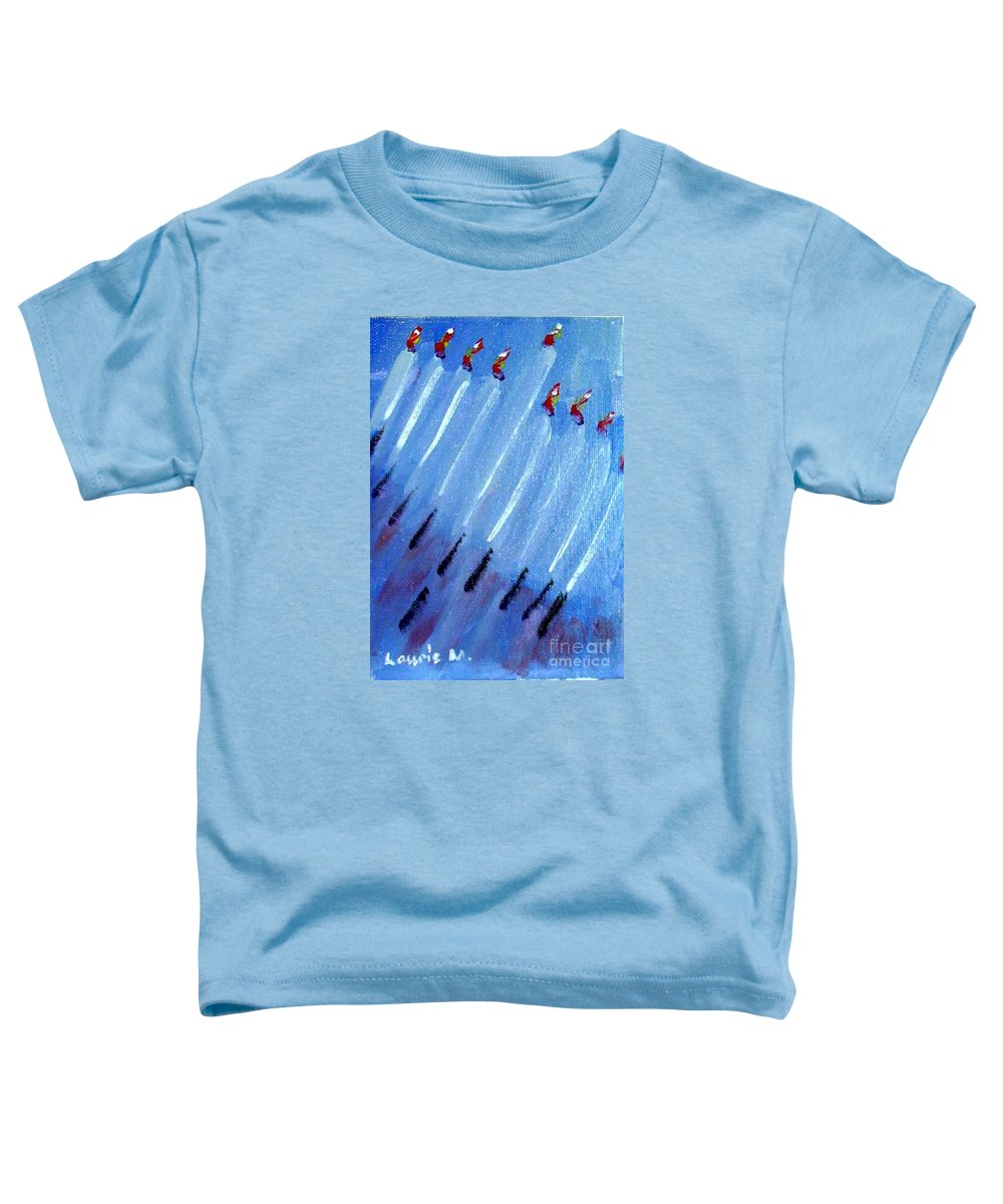 Menorah Toddler T-Shirt featuring the painting Modern Menorah by Laurie Morgan