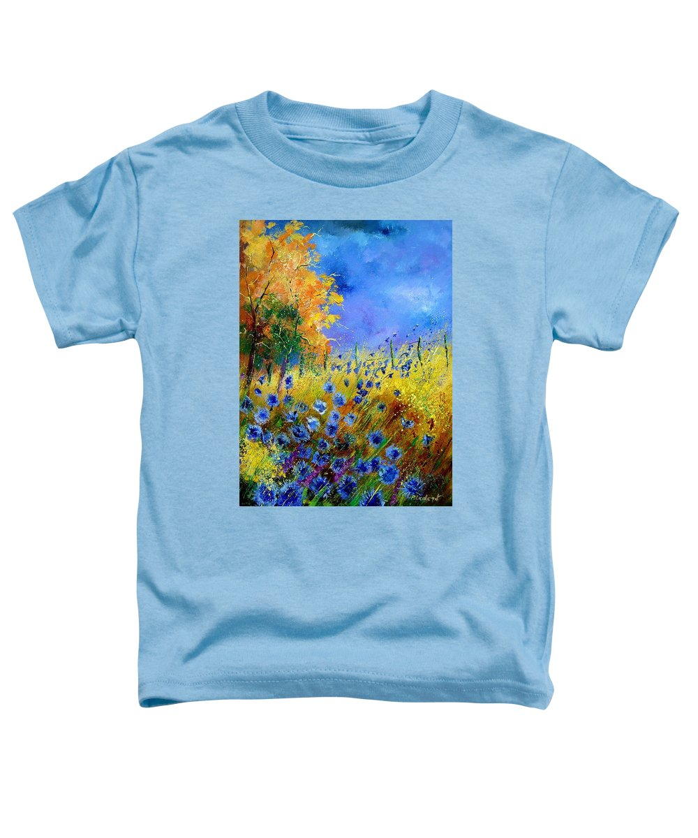 Poppies Toddler T-Shirt featuring the painting Orange Tree And Blue Cornflowers by Pol Ledent