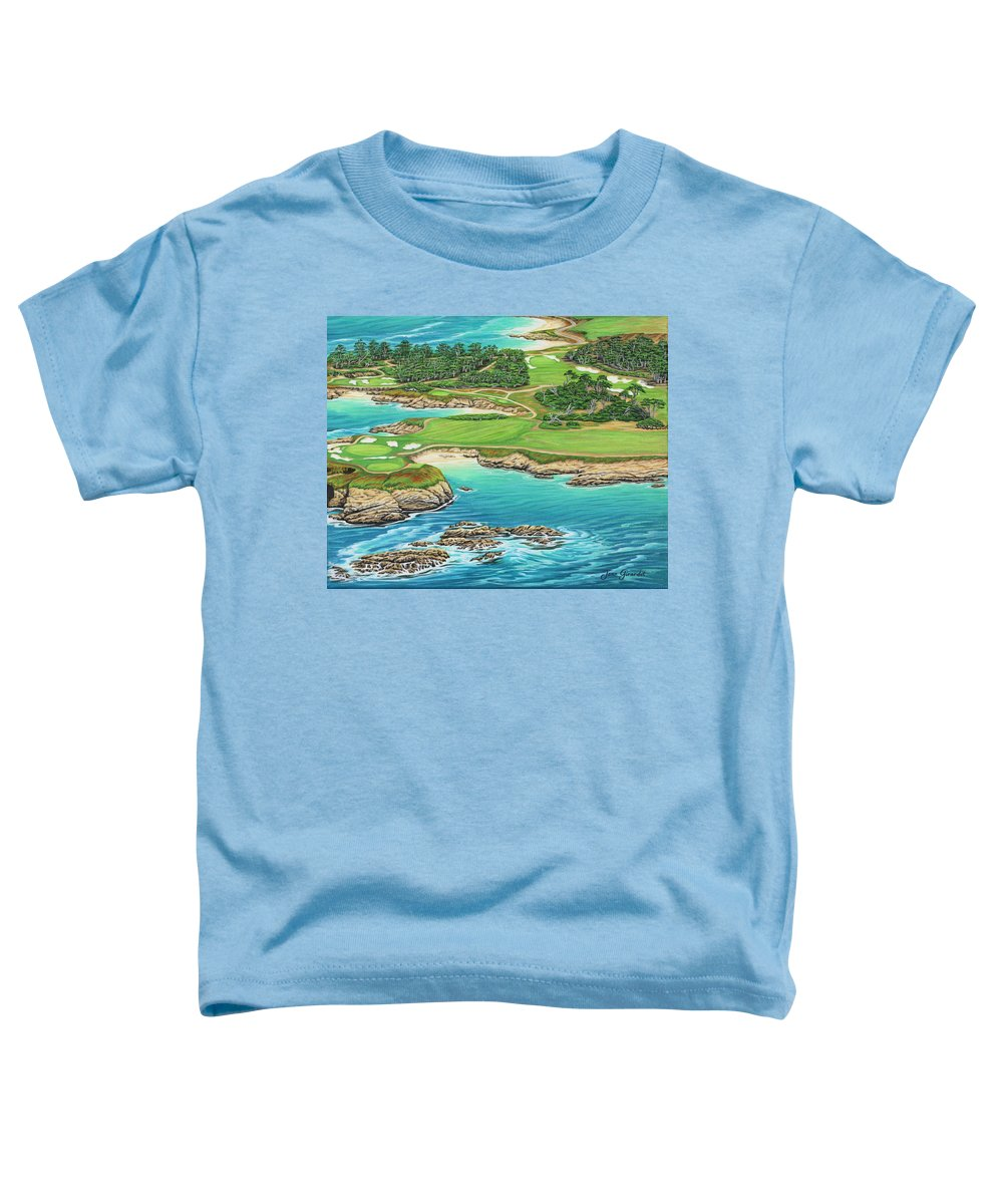 Ocean Toddler T-Shirt featuring the painting Pebble Beach 15th Hole-south by Jane Girardot