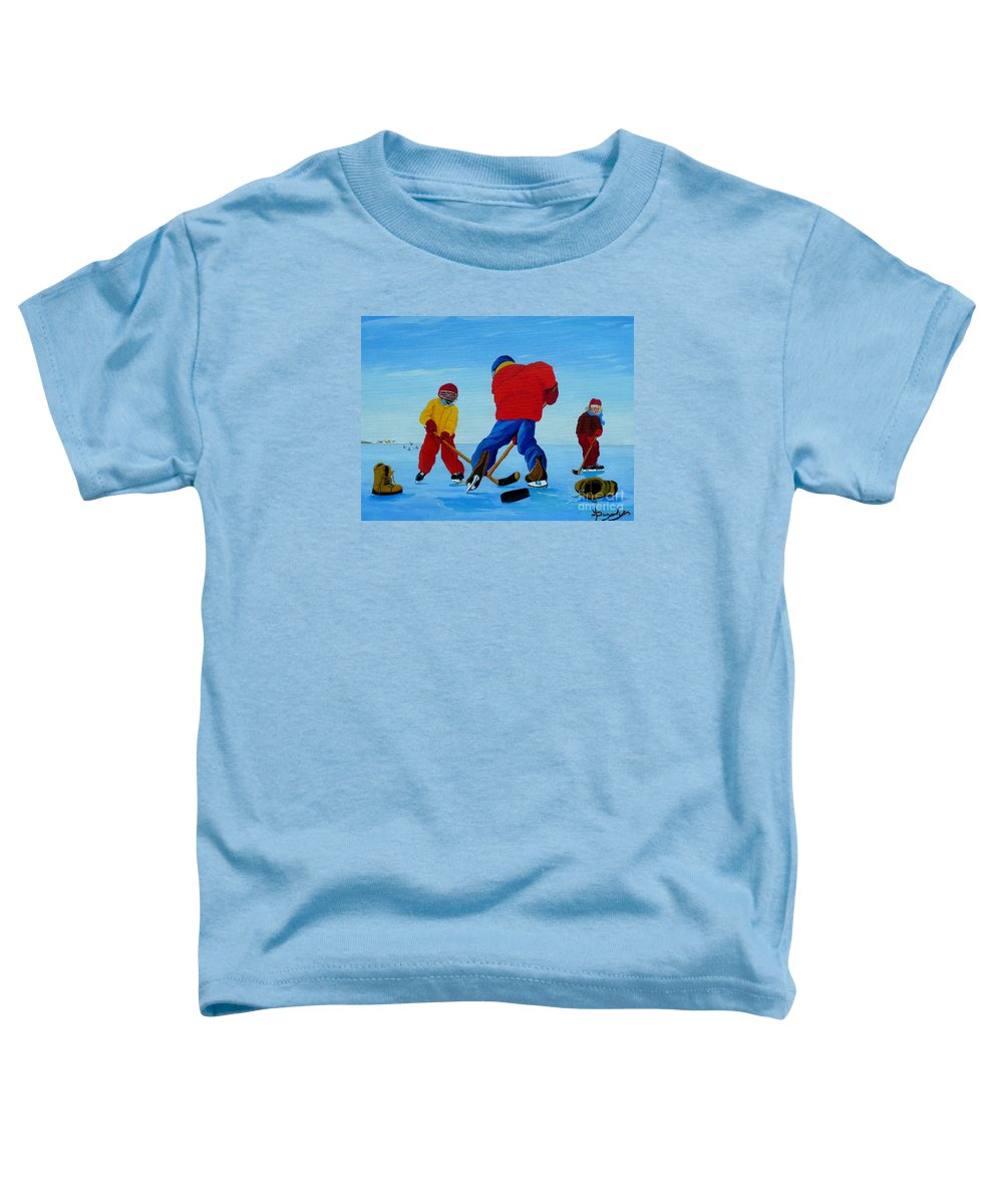 Winter Toddler T-Shirt featuring the painting The Pond Hockey Game by Anthony Dunphy