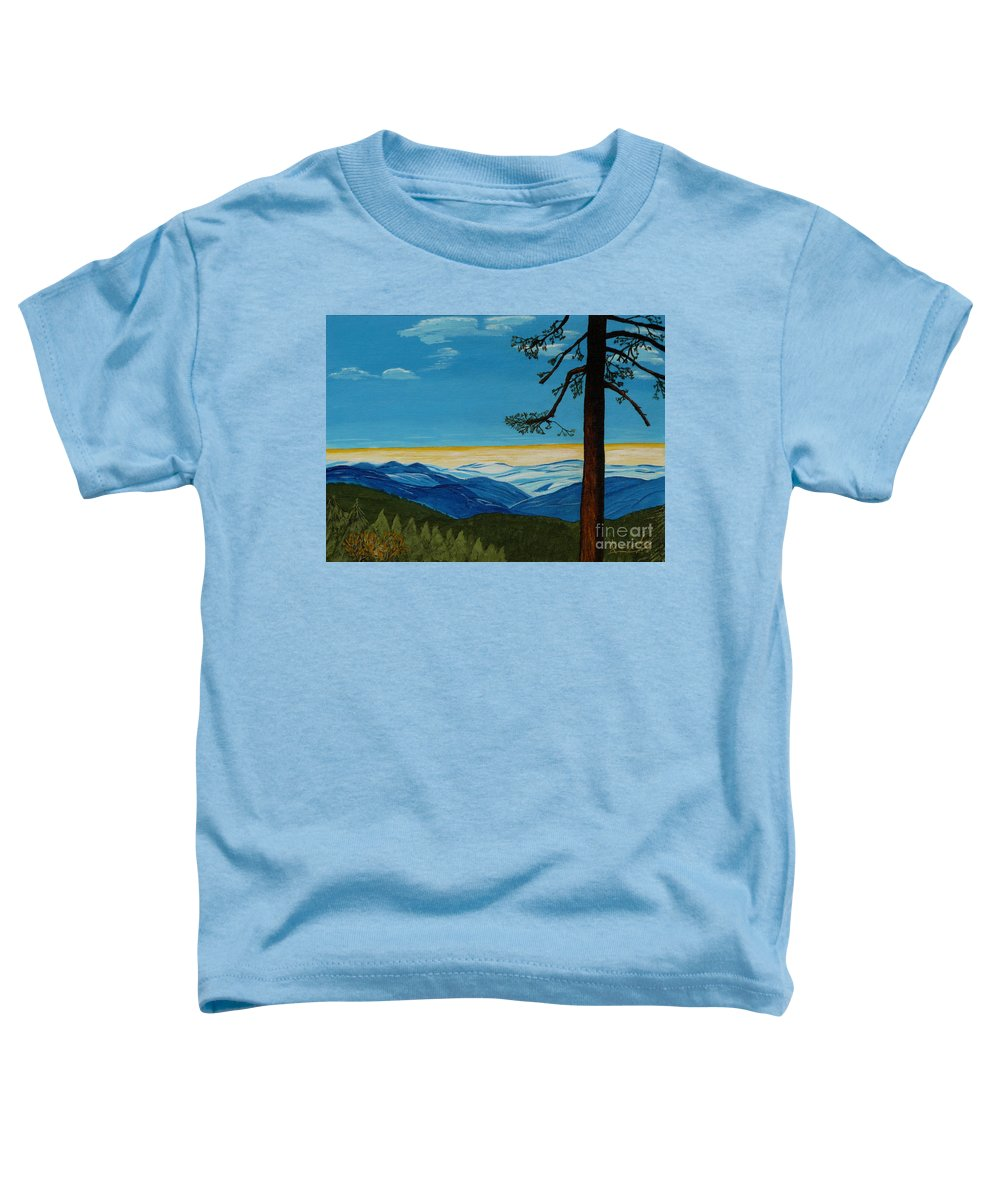 Mountain Toddler T-Shirt featuring the painting Tranquil Solitude by Anthony Dunphy