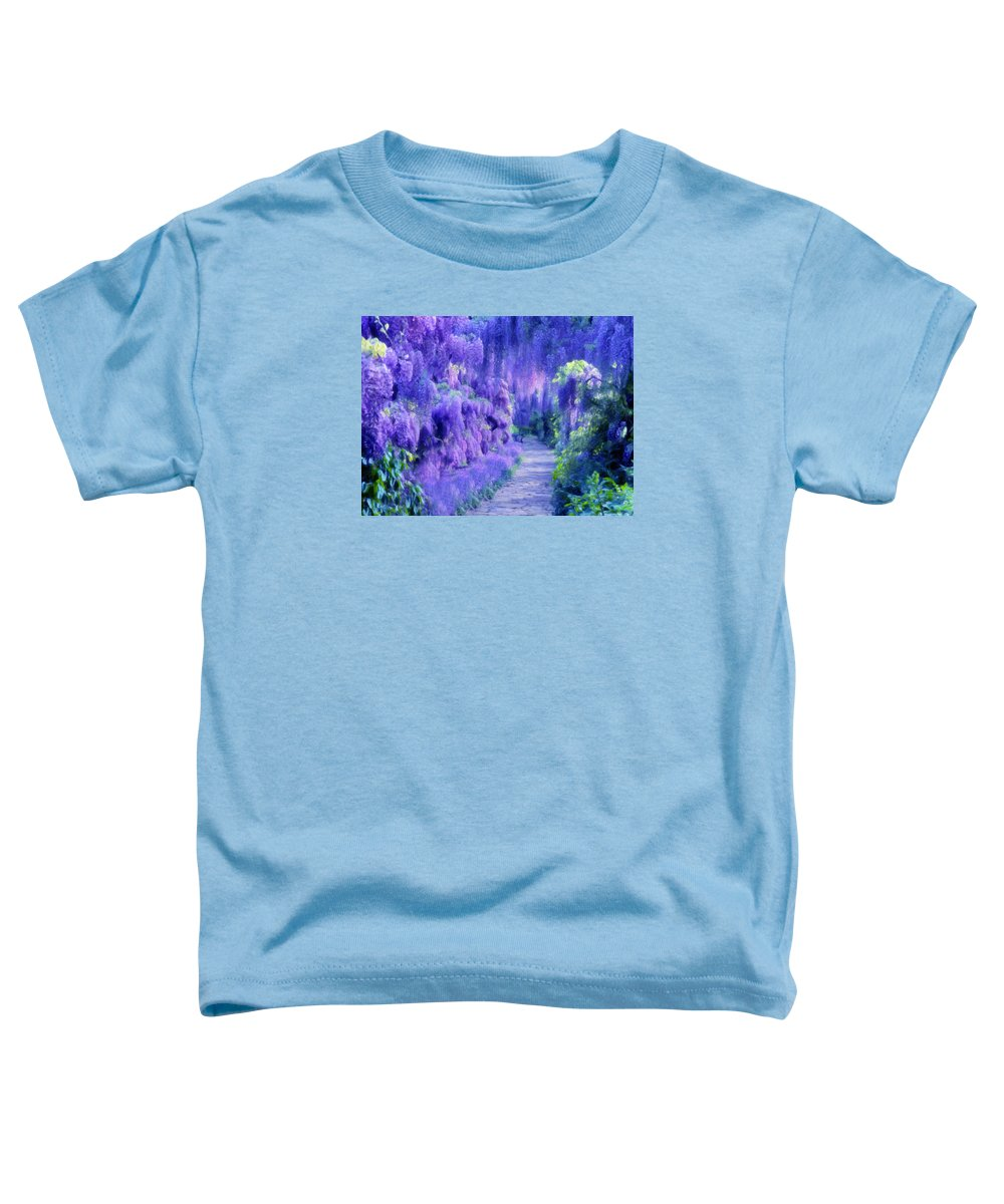 Impressionism Toddler T-Shirt featuring the mixed media Wisteria Dreams Impressionism by Georgiana Romanovna