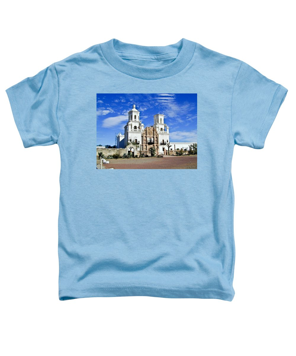 Mission San Xavier Del Bac Toddler T-Shirt featuring the photograph Xavier Tucson Arizona by Douglas Barnett