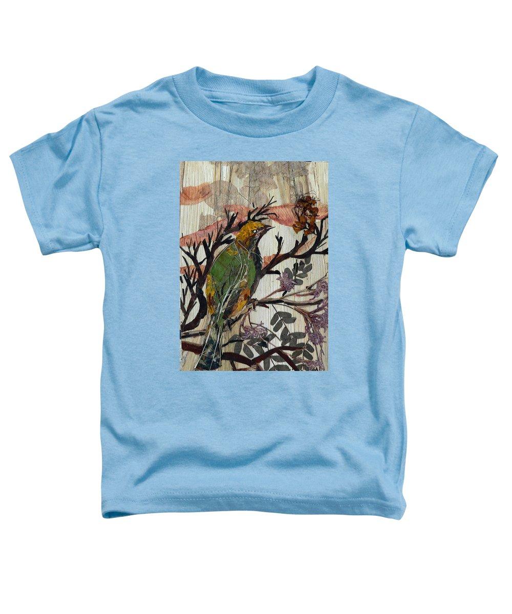 Green Bird Toddler T-Shirt featuring the mixed media Green-yellow Bird by Basant Soni