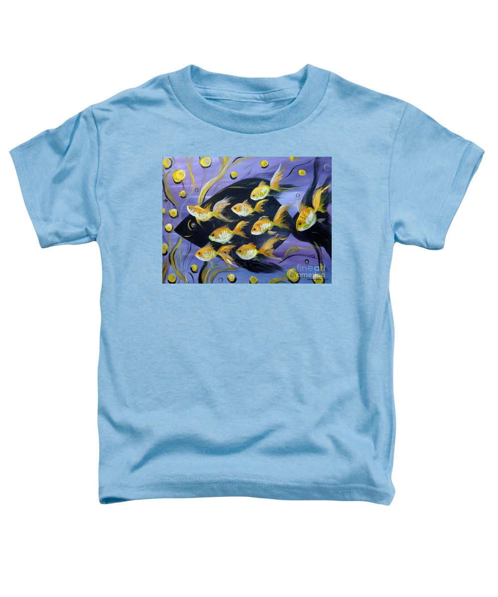 Fish Toddler T-Shirt featuring the painting 8 Gold Fish by Gina De Gorna