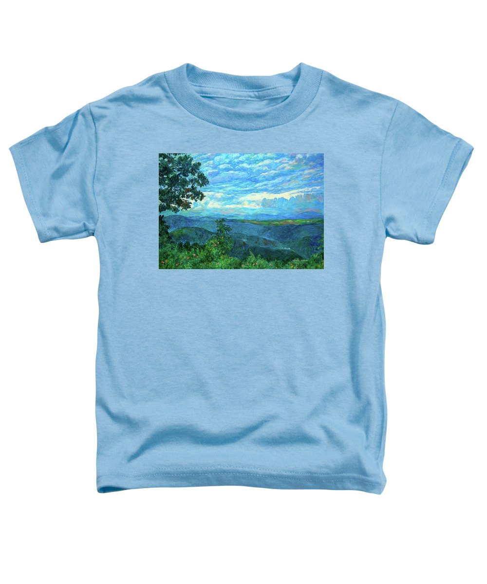 Mountains Toddler T-Shirt featuring the painting A Break In The Clouds by Kendall Kessler