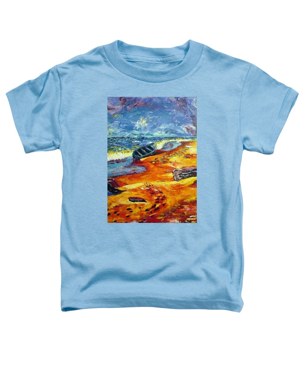 Landscape Toddler T-Shirt featuring the painting A Canoe At The Beach by Ericka Herazo