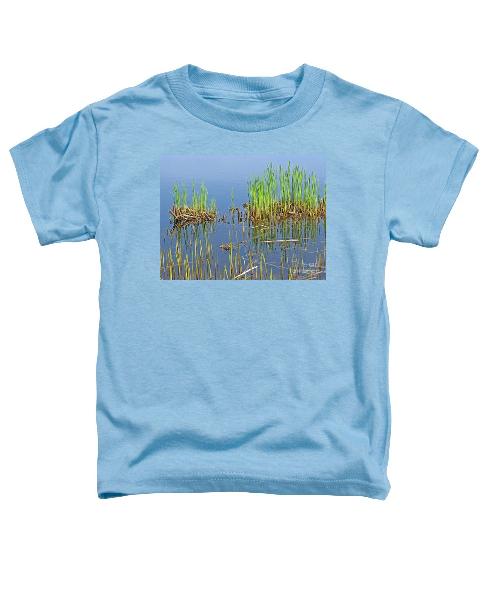 Spring Toddler T-Shirt featuring the photograph A Greening Marshland by Ann Horn
