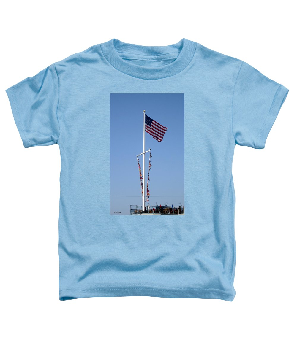 American Flag Toddler T-Shirt featuring the photograph American Flag by Shelley Jones