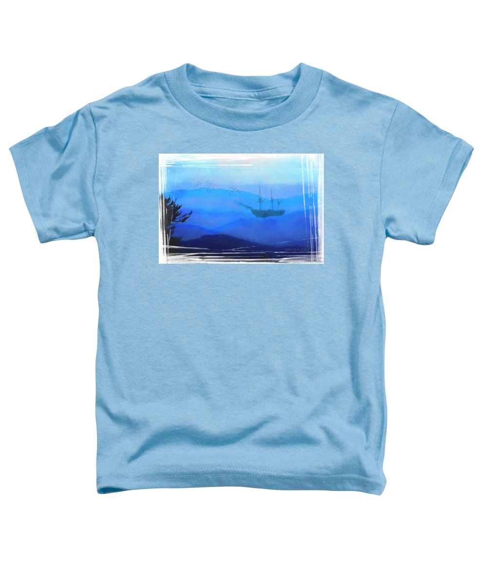 Ship Toddler T-Shirt featuring the digital art An Unexpected Harbor by Linda Lee Hall