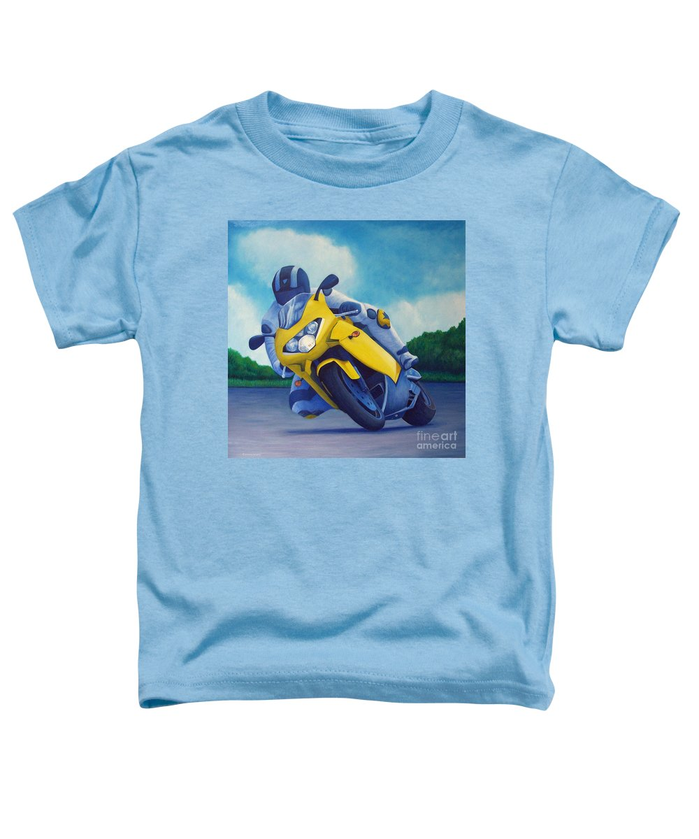 Motorcycle Toddler T-Shirt featuring the painting Aprilla - Tuesday Afternoon by Brian Commerford