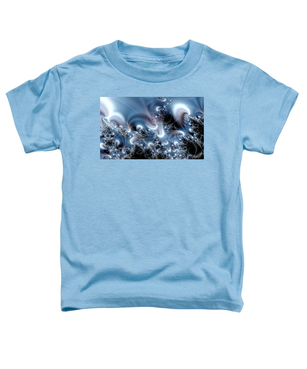 Water Bubbles Blue Nature Flow Toddler T-Shirt featuring the digital art Aquafractal by Veronica Jackson