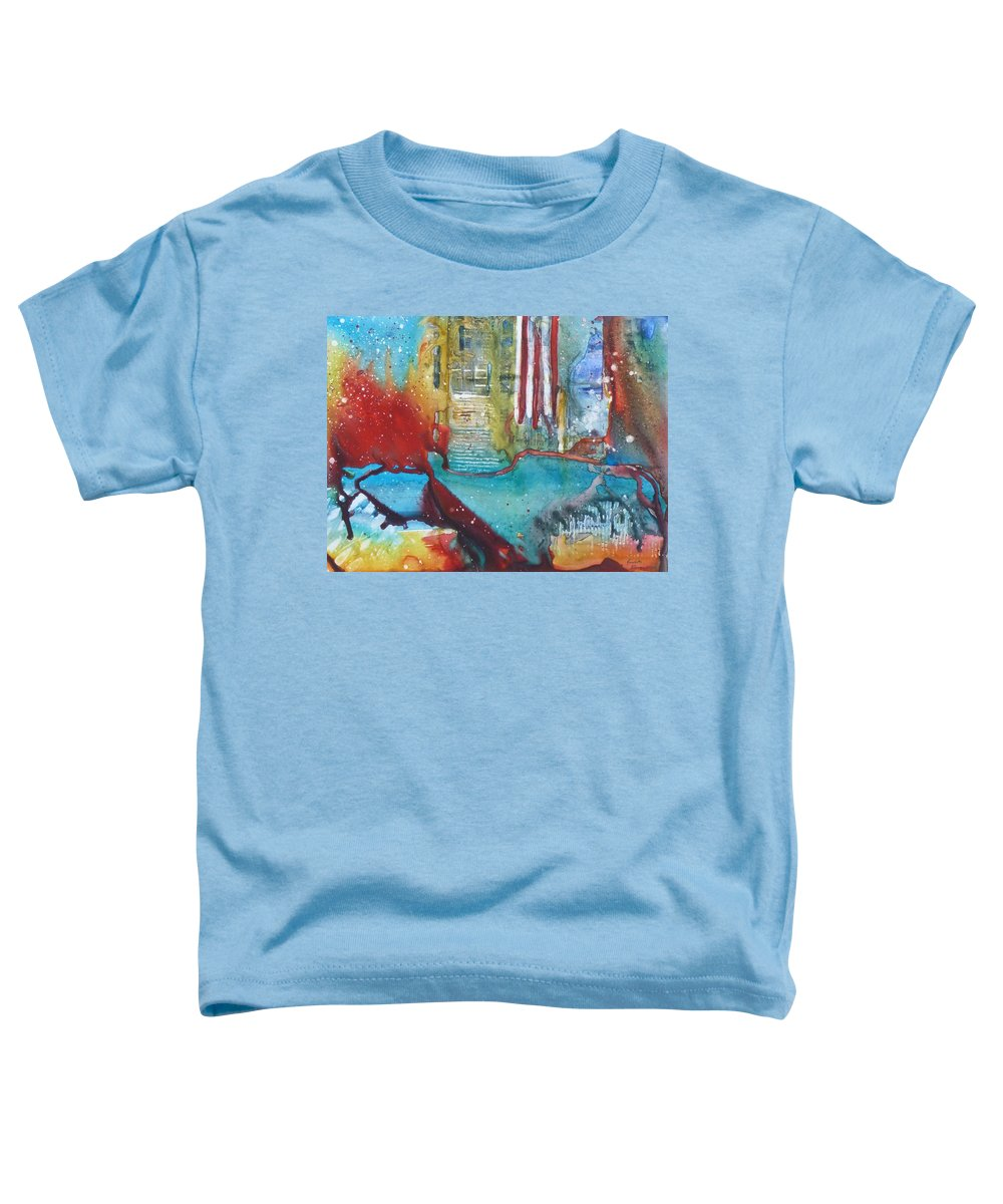 Abstract Toddler T-Shirt featuring the painting Atlantis Crashing Into The Sea by Ruth Kamenev