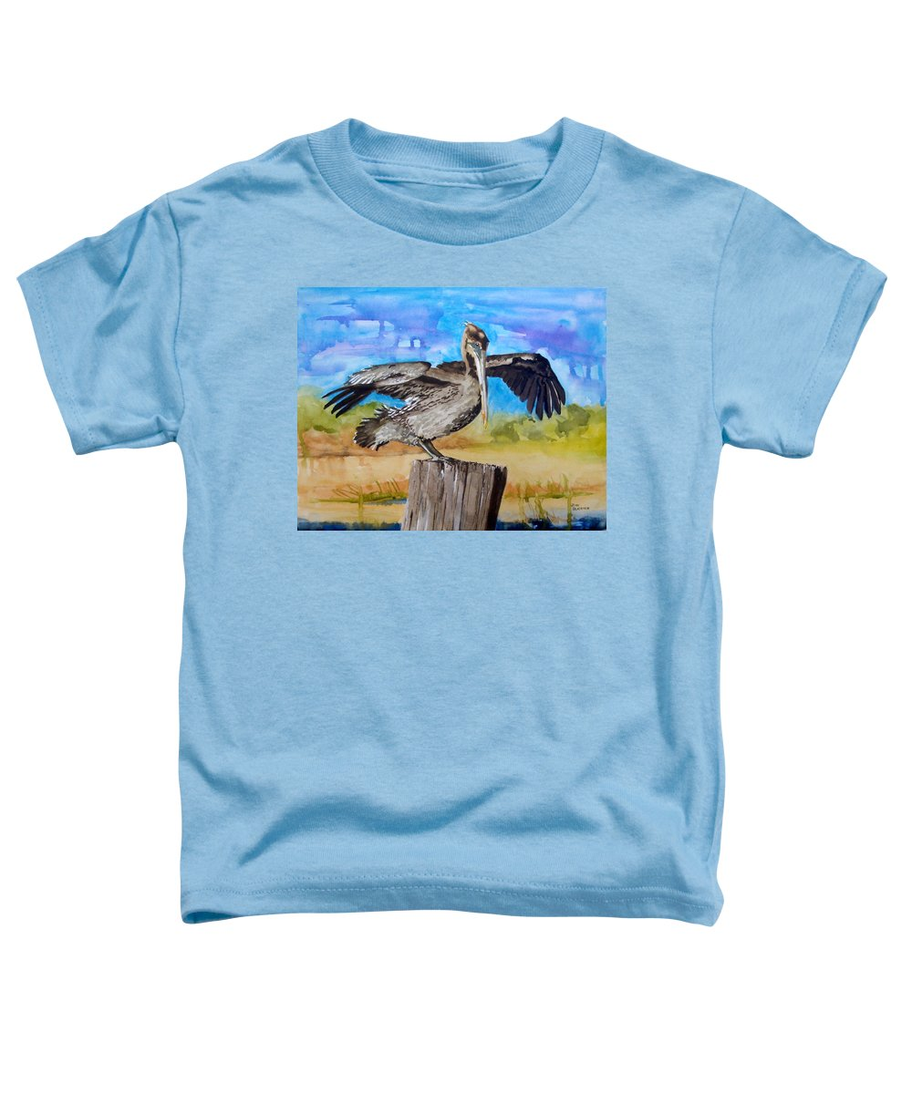 Pelican Toddler T-Shirt featuring the painting Baby Spreads His Wings by Jean Blackmer