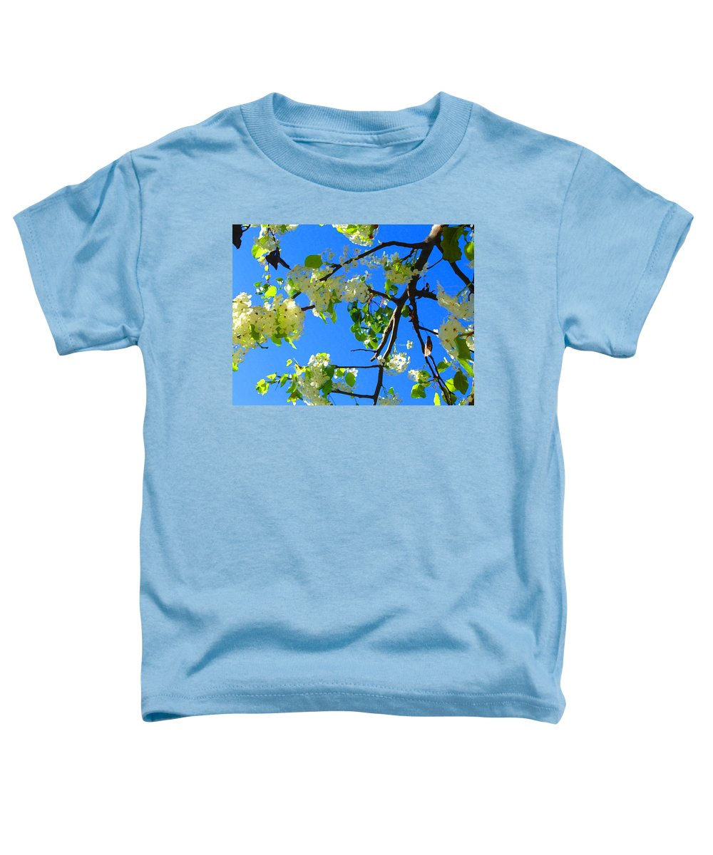 Tree Blossoms Toddler T-Shirt featuring the painting Backlit White Tree Blossoms by Amy Vangsgard