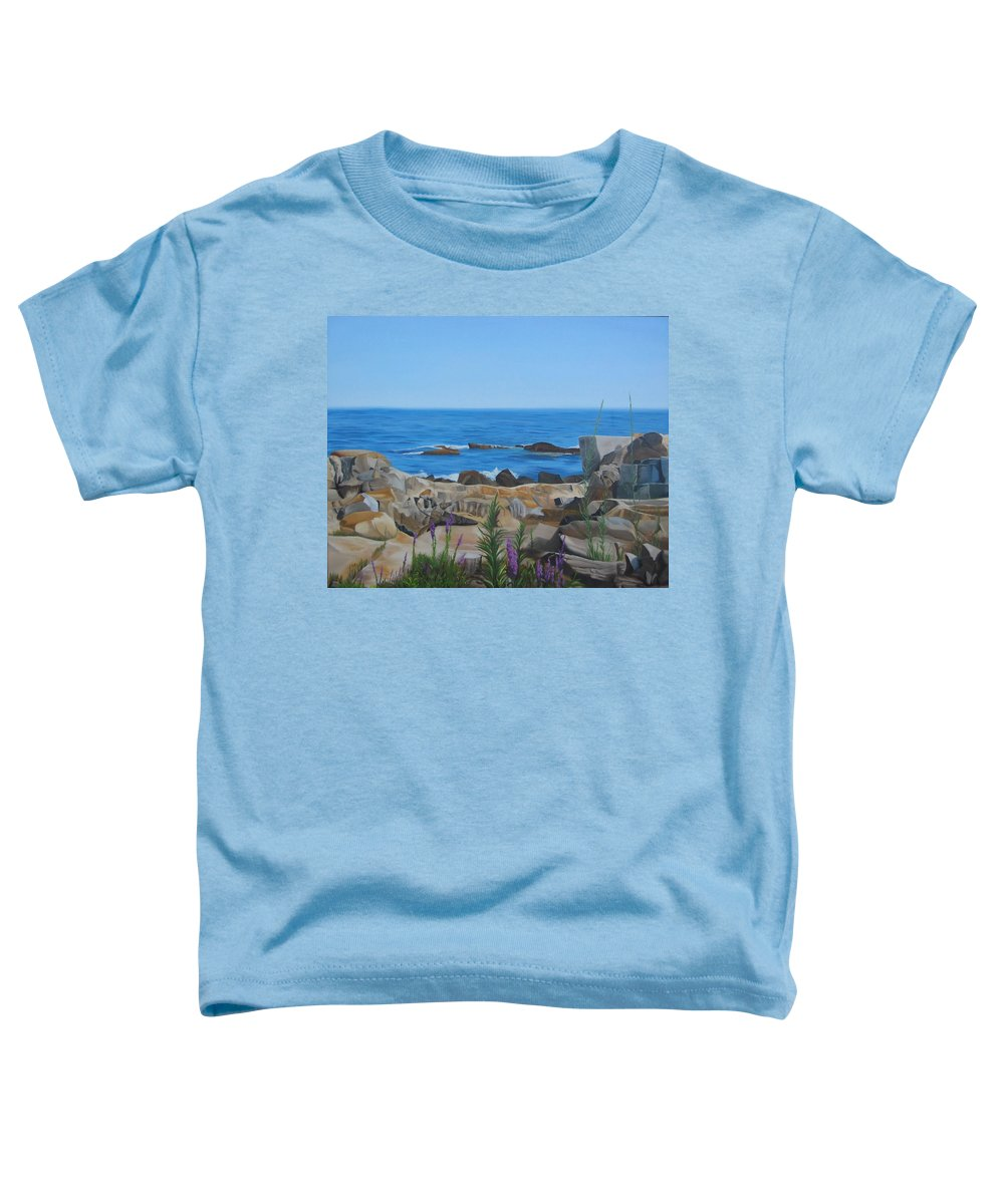 Seascape Toddler T-Shirt featuring the painting Bass Rocks Gloucester by Lea Novak