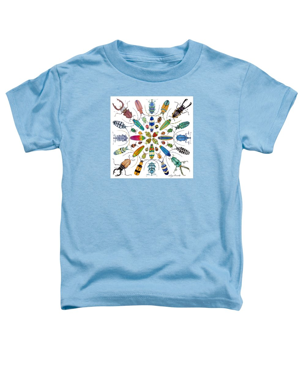 Insects Toddler T-Shirt featuring the painting Beautiful Beetles by Lucy Arnold