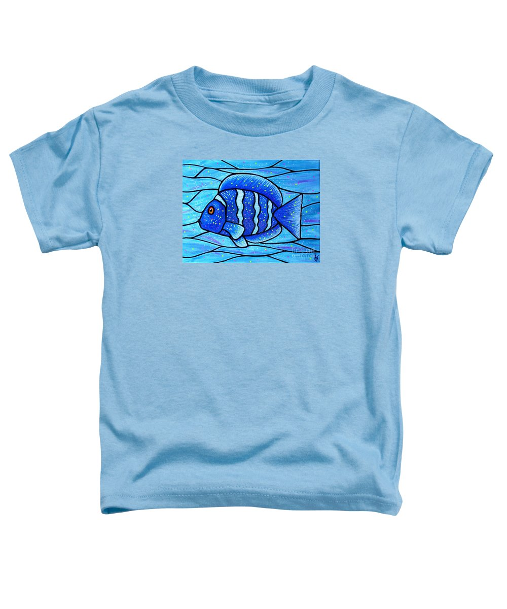 Tropical Fish Toddler T-Shirt featuring the painting Beckys Blue Tropical Fish by Jim Harris