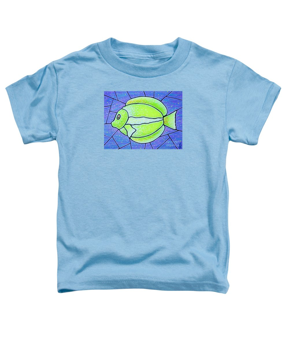 Tropical Fish Toddler T-Shirt featuring the painting Beckys Yellow Tropical Fish by Jim Harris