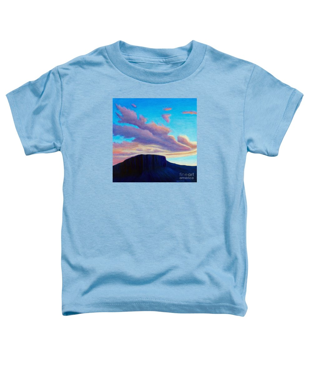 Landscape Toddler T-Shirt featuring the painting Black Mesa Sunset by Brian Commerford