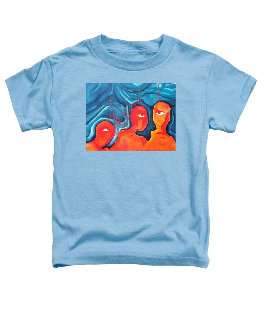 Abstract Eyes People Blood Toddler T-Shirt featuring the painting Bleeding Thoughts by Veronica Jackson