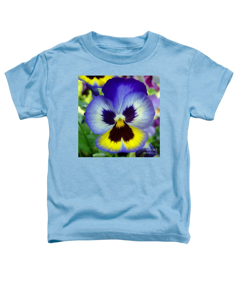 Flowers Toddler T-Shirt featuring the photograph Blue And Yellow Pansy by Nancy Mueller
