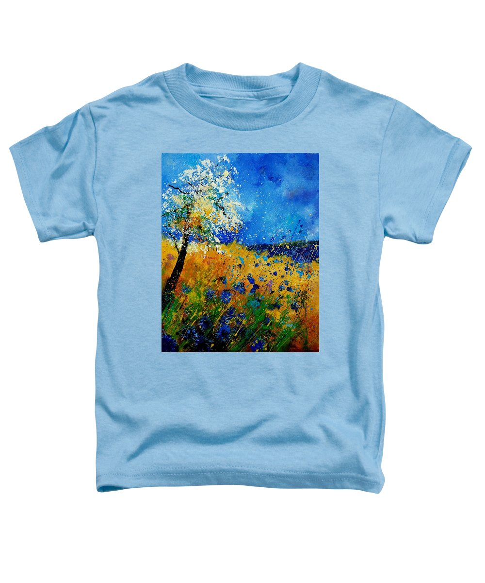 Poppies Toddler T-Shirt featuring the painting Blue Cornflowers 450108 by Pol Ledent