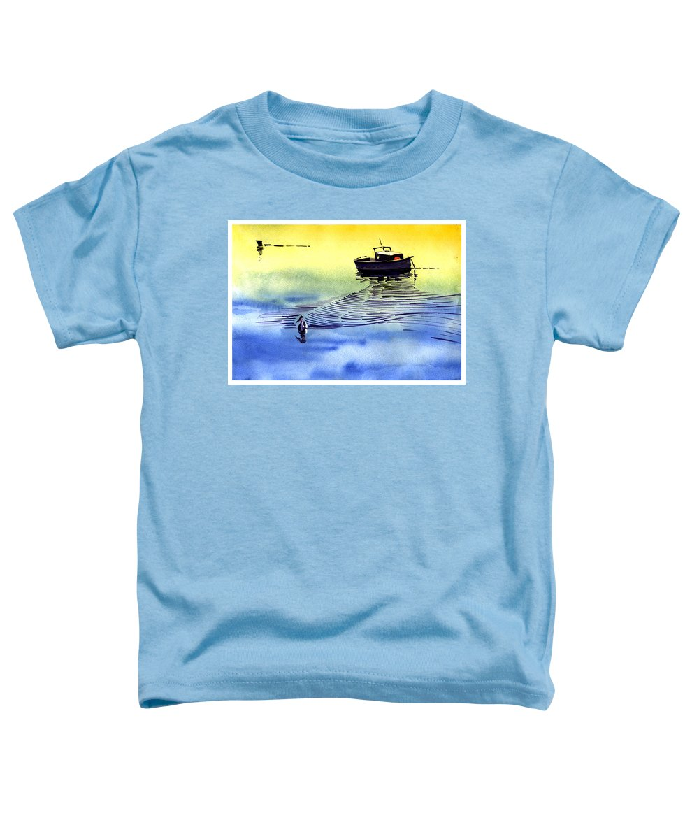 Watercolor Toddler T-Shirt featuring the painting Boat And The Seagull by Anil Nene