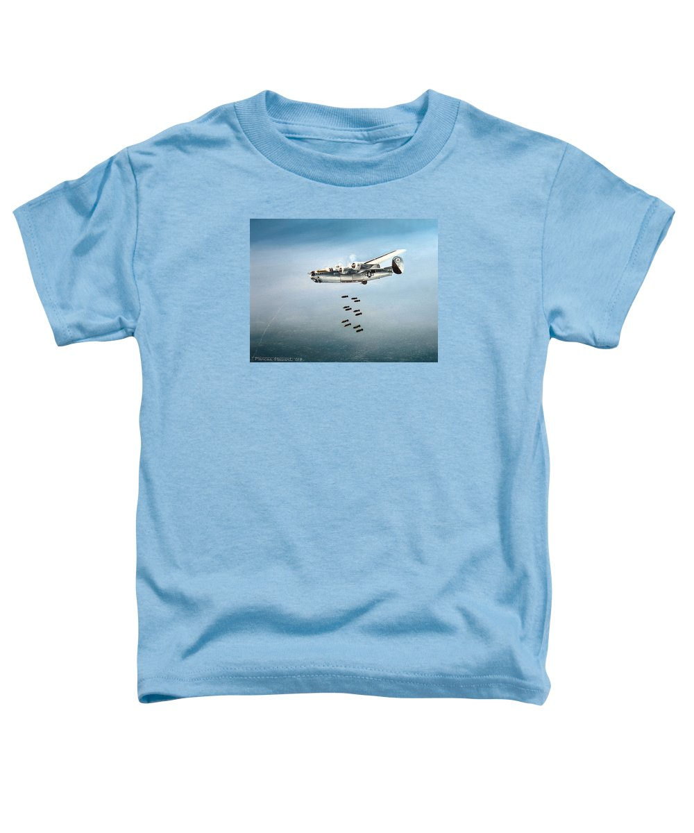 Aviation Toddler T-Shirt featuring the painting Bombs Away by Marc Stewart