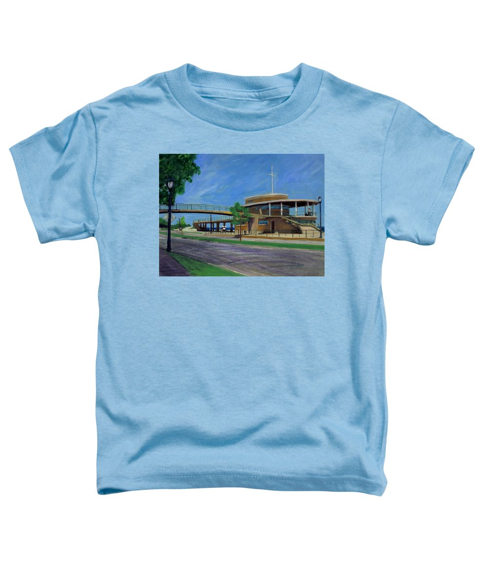 Miexed Media Toddler T-Shirt featuring the mixed media Bradford Beach House by Anita Burgermeister