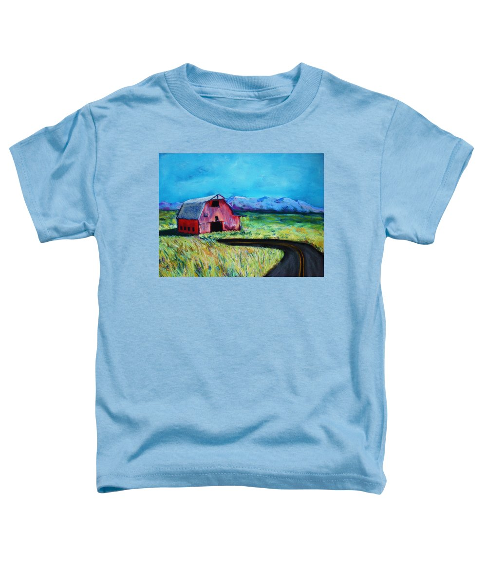 Barn Toddler T-Shirt featuring the pastel Bradley's Barn by Melinda Etzold
