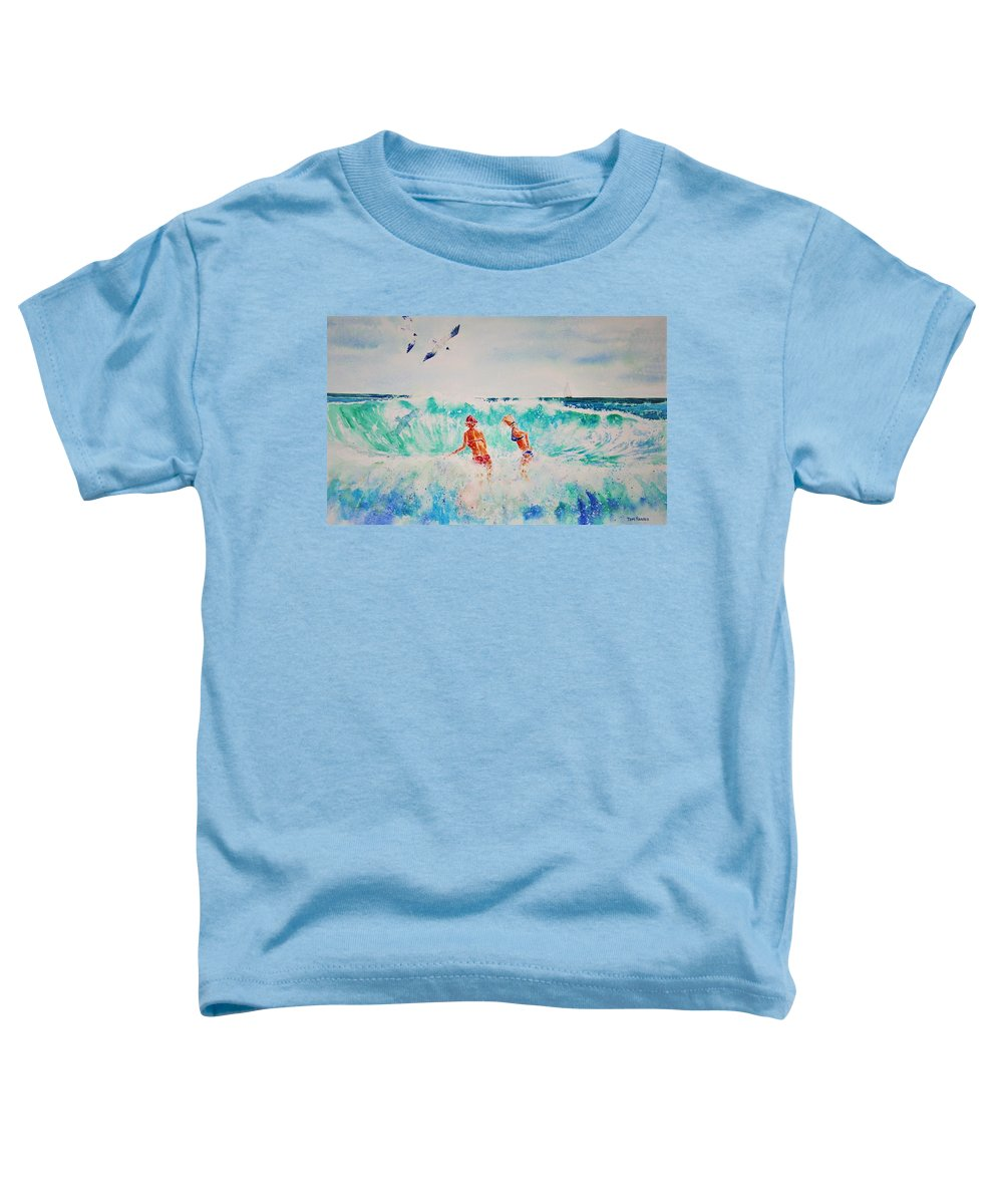 Surf Toddler T-Shirt featuring the painting Brooke And Carey In The Shore Break by Tom Harris
