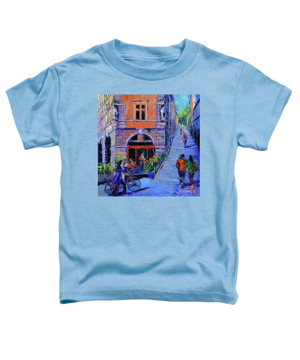 Cafe Du Soleil Toddler T-Shirt featuring the mixed media Cafe Du Soleil Lyon by Mona Edulesco