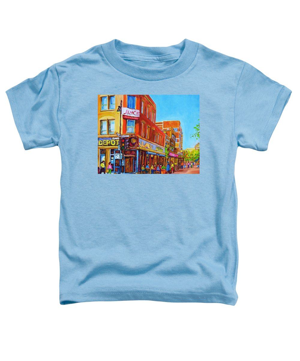 Cityscape Toddler T-Shirt featuring the painting Coffee Depot Cafe And Terrace by Carole Spandau