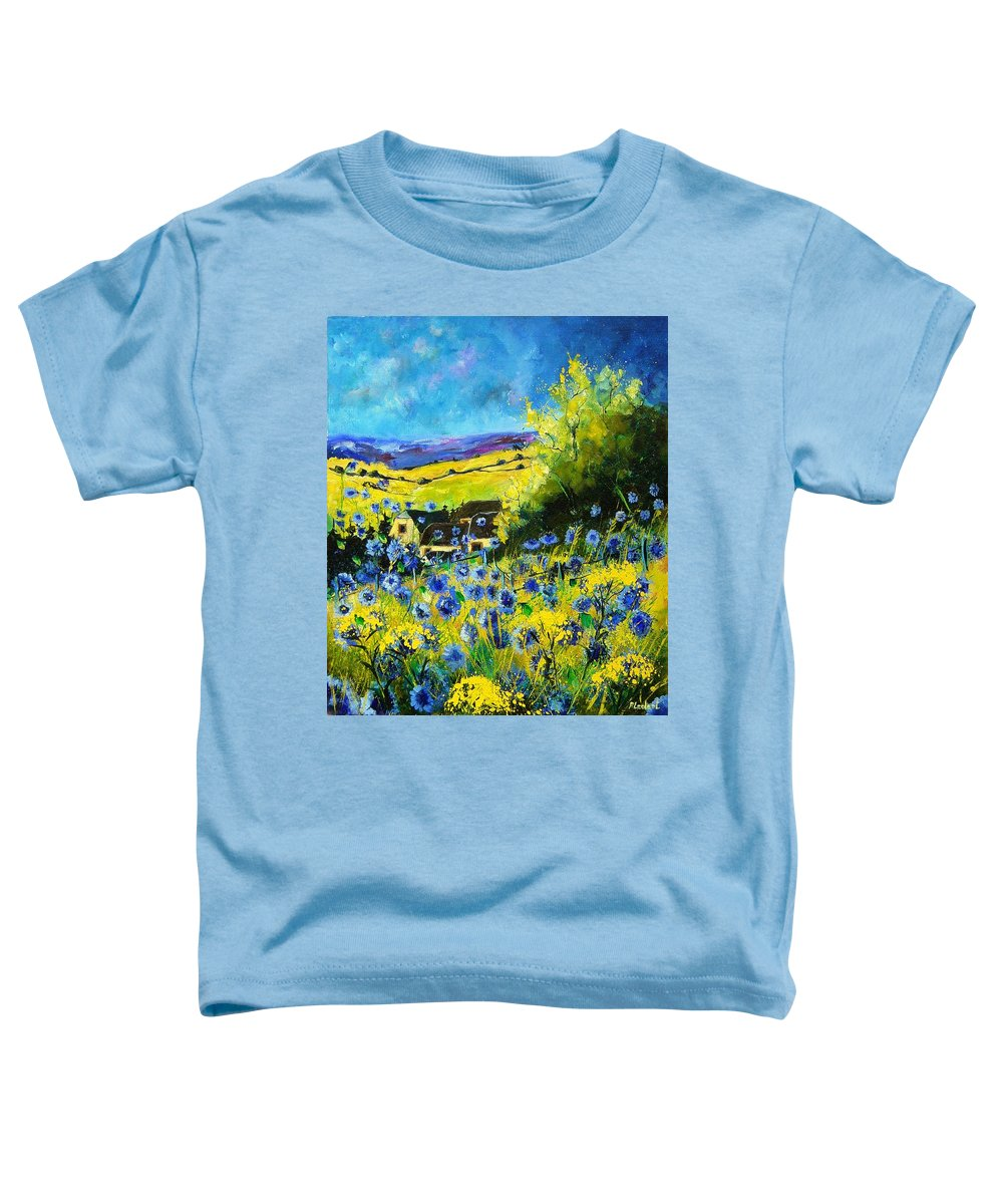 Flowers Toddler T-Shirt featuring the painting Cornflowers In Ver by Pol Ledent