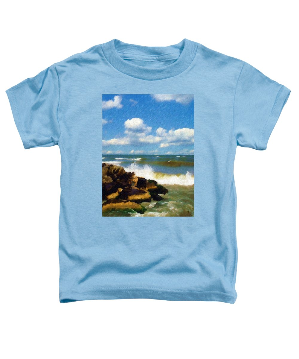 Seascape Toddler T-Shirt featuring the photograph Crashing Into Shore by Sandy MacGowan