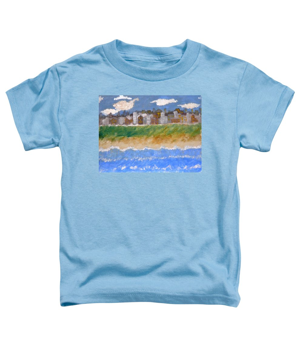 Seascape Toddler T-Shirt featuring the painting Crowded Beaches by R B