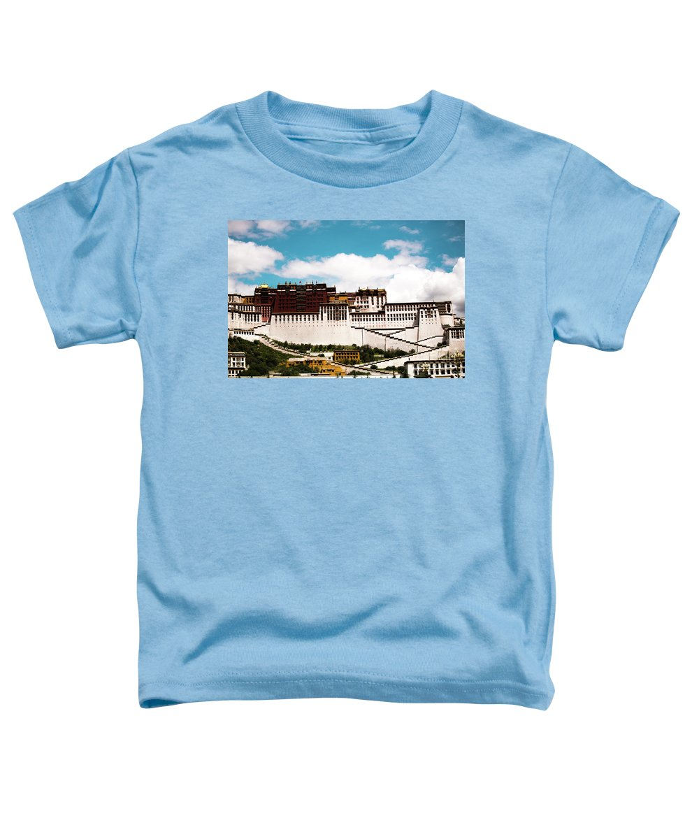 Tibet Toddler T-Shirt featuring the photograph Dalai Lama Home Place. Potala Palace Kailash Yantra.lv 2016 Tibet by Raimond Klavins