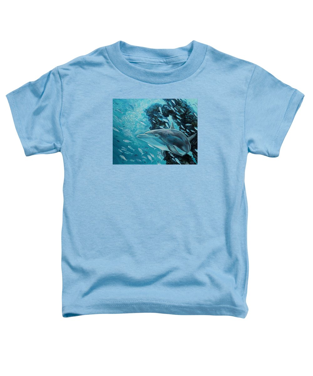 Underwater Scene Toddler T-Shirt featuring the painting Dolphin With Small Fish by Diann Baggett