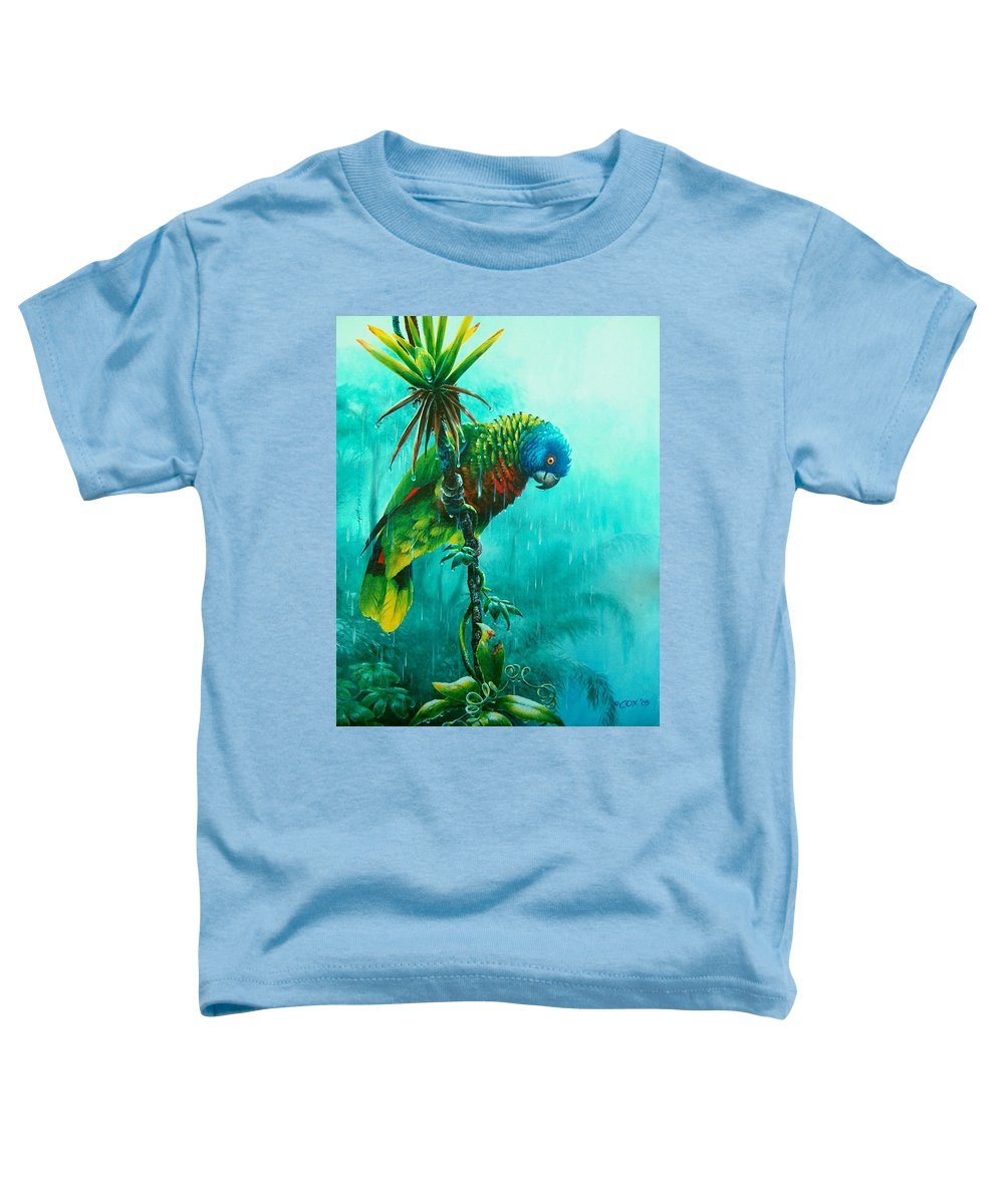 Chris Cox Toddler T-Shirt featuring the painting Drenched - St. Lucia Parrot by Christopher Cox