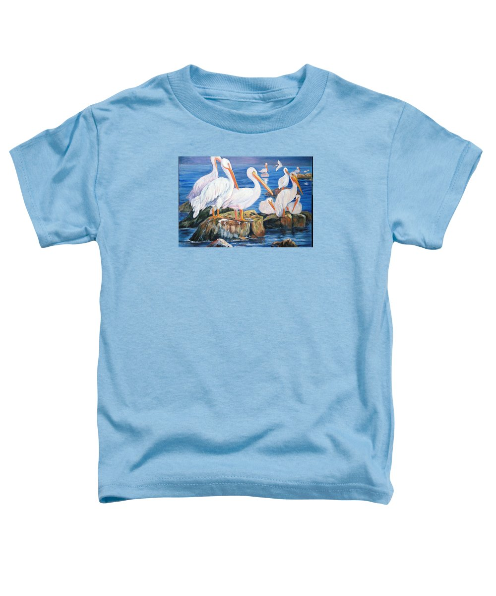 Pelicans On The Louisiana Jetties Toddler T-Shirt featuring the painting Drippin Wet by Anne Dentler