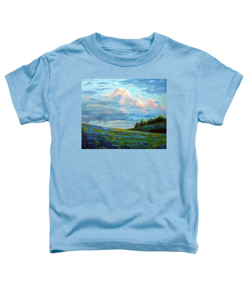 Landscape Toddler T-Shirt featuring the painting Evening Rain by David G Paul